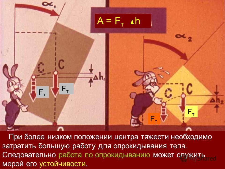 FтFт FтFт FтFт FтFт FтFт При более низком положении центра тяжести необходимо затратить большую работу для опрокидывания тела. Следовательно работа по опрокидыванию может служить мерой его устойчивости.