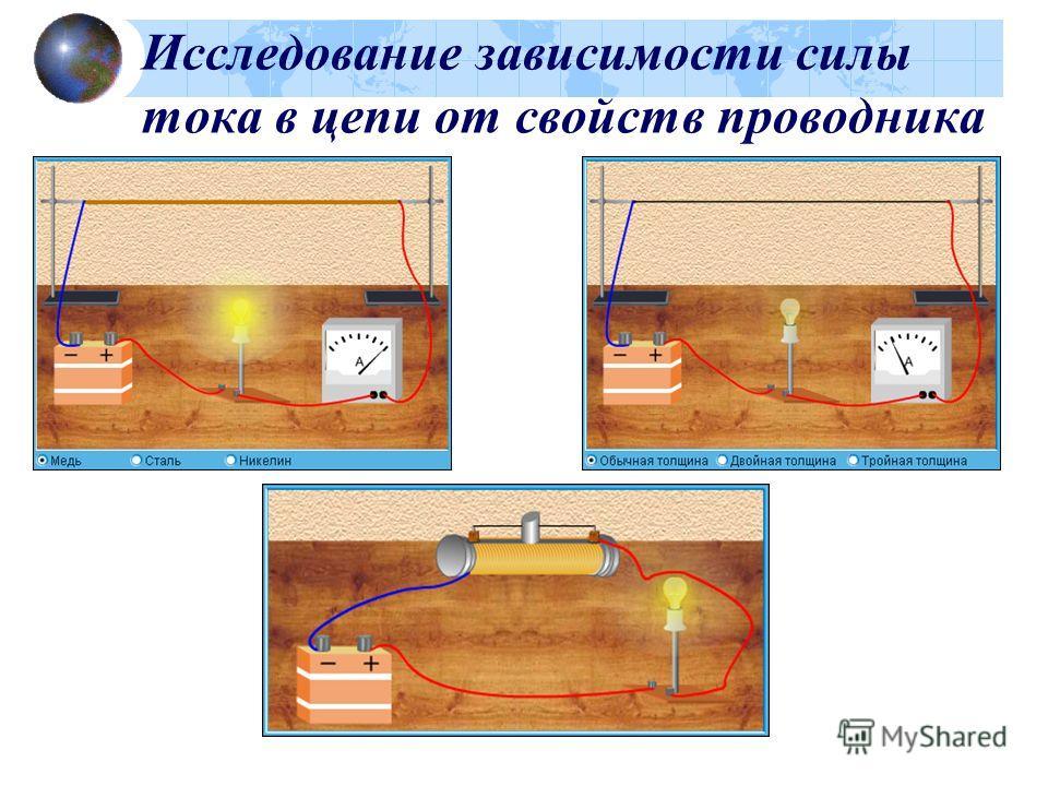 Исследование зависимости силы тока в цепи от свойств проводника