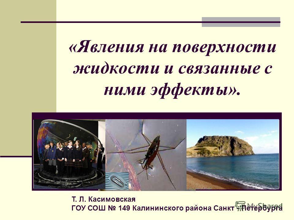 «Явления на поверхности жидкости и связанные с ними эффекты». Т. Л. Касимовская ГОУ СОШ 149 Калининского района Санкт - Петербурга