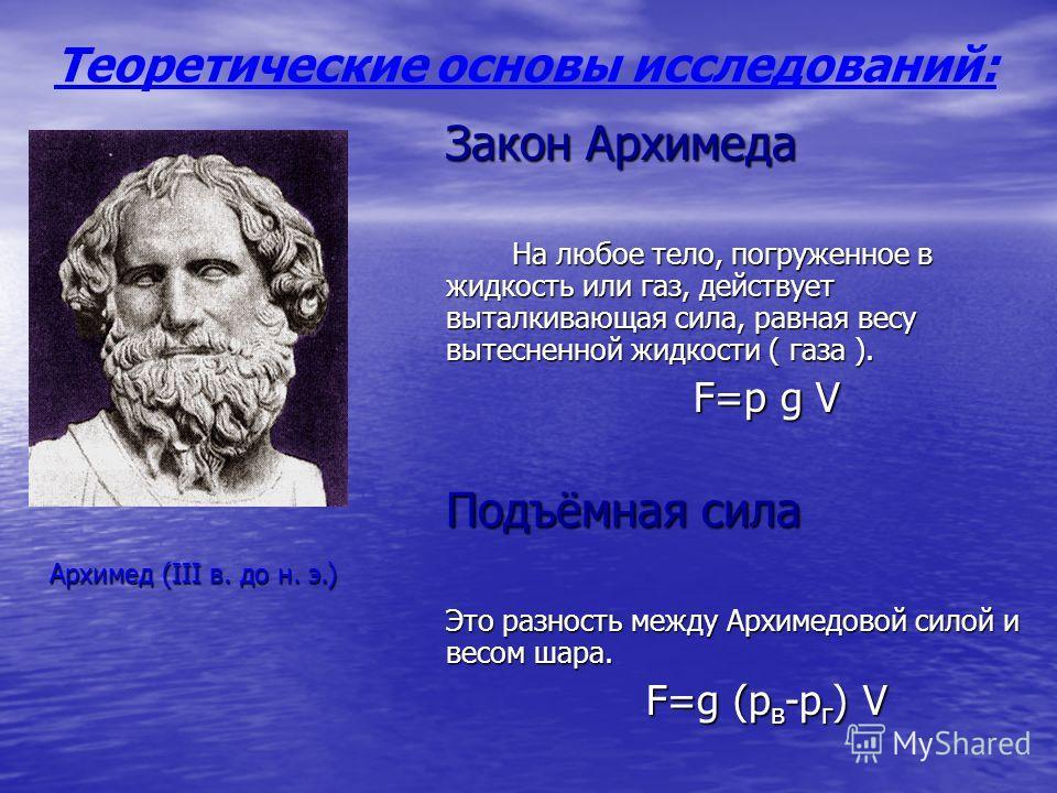 Закон Архимеда На любое тело, погруженное в жидкость или газ, действует выталкивающая сила, равная весу вытесненной жидкости ( газа ). F=p g V Подъёмная сила Это разность между Архимедовой силой и весом шара. F=g (p в -p г ) V Теоретические основы ис