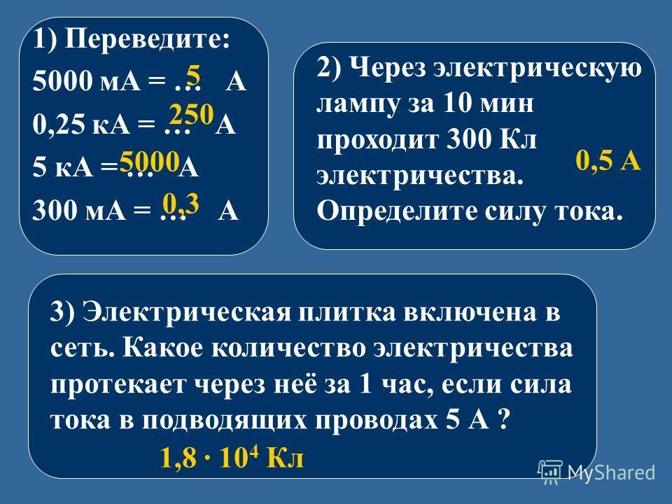 1) Переведите: 5000 мА = … А 0,25 кА = … А 5 кА = … А 300 мА = … А 2) Через электрическую лампу за 10 мин проходит 300 Кл электричества. Определите силу тока. 3) Электрическая плитка включена в сеть. Какое количество электричества протекает через неё