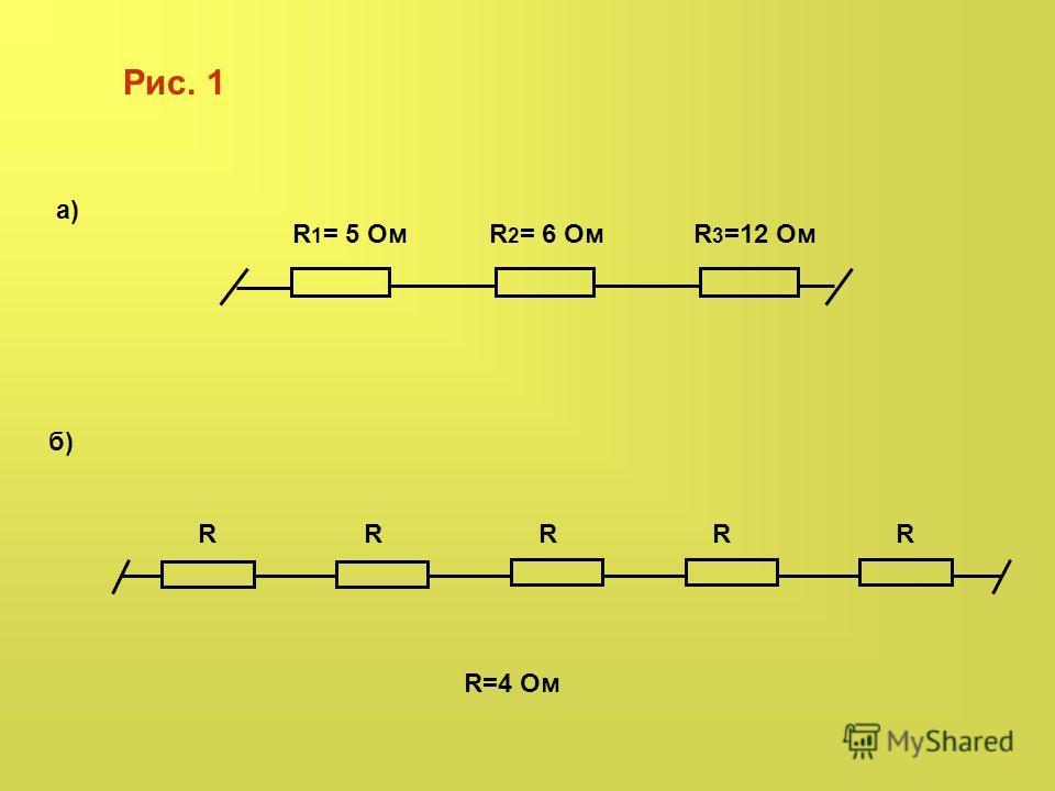R=4 Ом а) б) R 1 = 5 ОмR 2 = 6 ОмR 3 =12 Ом Рис. 1 RRRRR