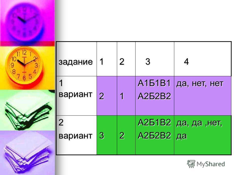 задание12 3 4 1 вариант 21А1Б1В1А2Б2В2 да, нет, нет 2вариант32А2Б1В2А2Б2В2 да, да,нет, да