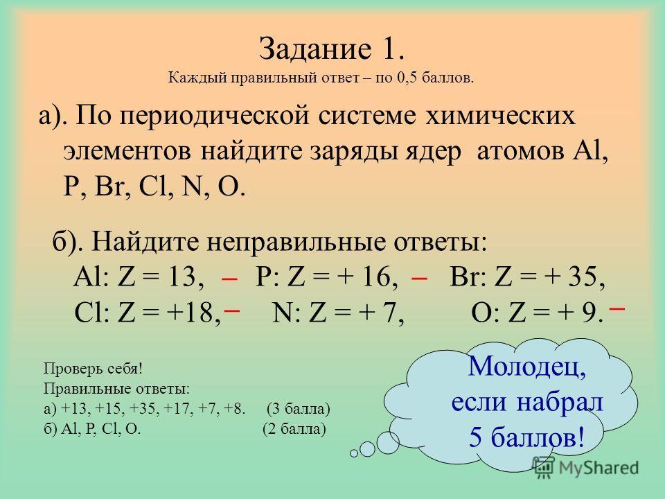 Задание 1. а). По периодической системе химических элементов найдите заряды ядер атомов Al, P, Br, Cl, N, O. _ _ _ _ Каждый правильный ответ – по 0,5 баллов. Проверь себя! Правильные ответы: а) +13, +15, +35, +17, +7, +8. (3 балла) б) Al, P, Cl, O. (
