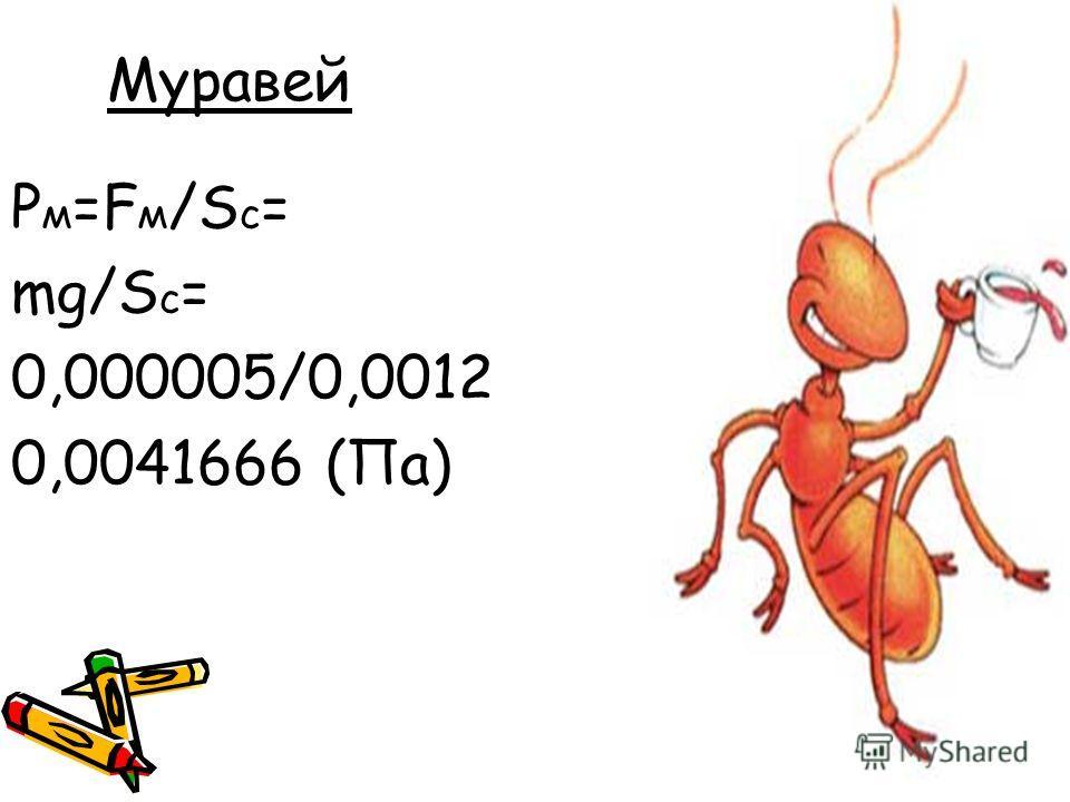 Муравей P м =F м /S с = mg/S с = 0,000005/0,0012 0,0041666 (Па)