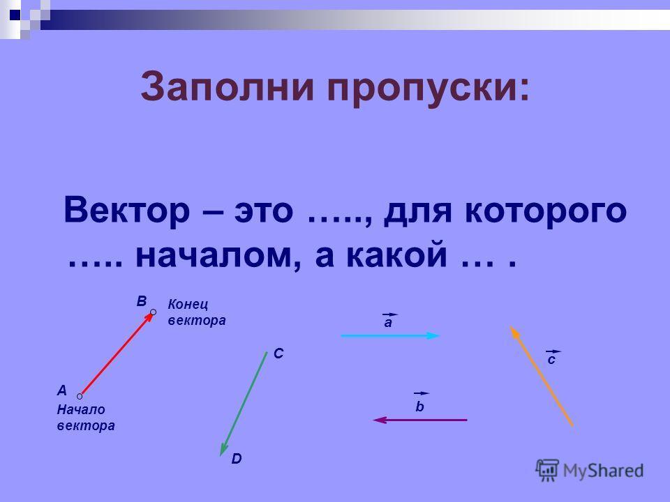 Заполни пропуски: В А Начало вектора Конец вектора C D a b c Вектор – это ….., для которого ….. началом, а какой ….