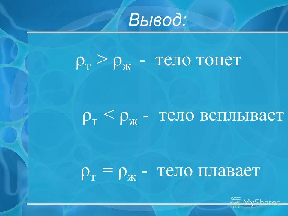 Вывод: ρ т > ρ ж - тело тонет ρ т < ρ ж - тело всплывает ρ т = ρ ж - тело плавает