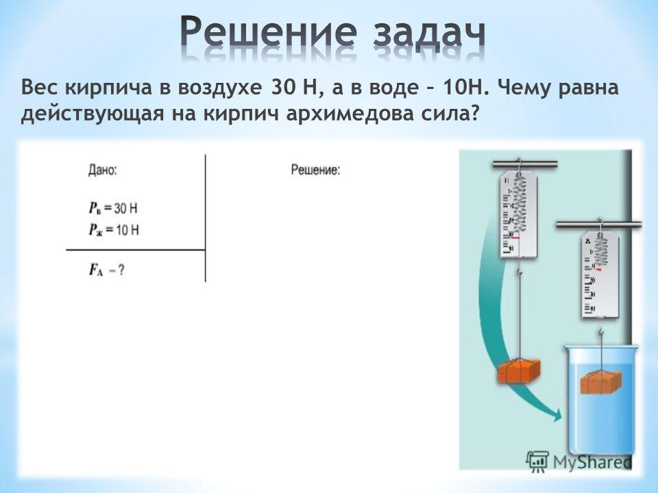 Вес кирпича в воздухе 30 Н, а в воде – 10Н. Чему равна действующая на кирпич архимедова сила?