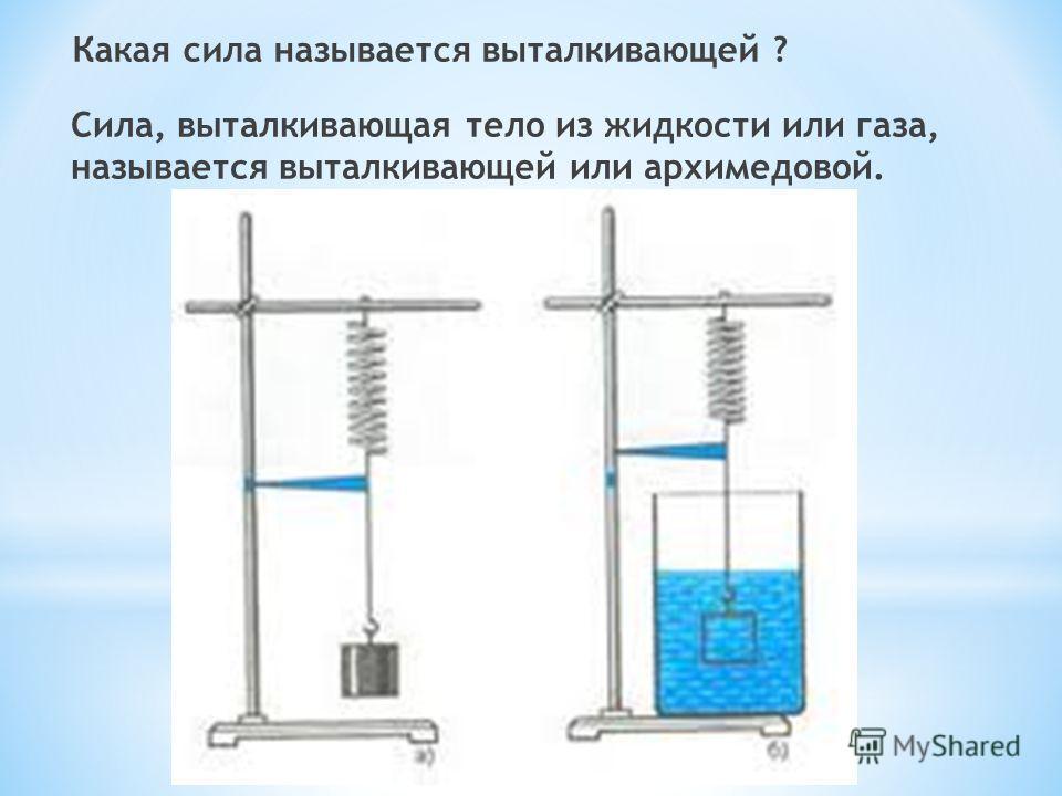 Какая сила называется выталкивающей ? Сила, выталкивающая тело из жидкости или газа, называется выталкивающей или архимедовой.