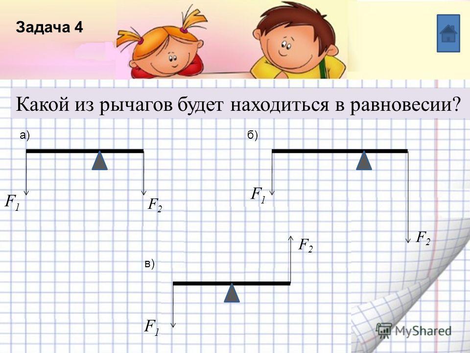 Название списка Пункт 5 Пункт 4 Пункт 3 Пункт 2 Пункт 1 Текст Задача 4 Какой из рычагов будет находиться в равновесии? F1F1 F2F2 б)а) в) F1F1 F1F1 F2F2 F2F2