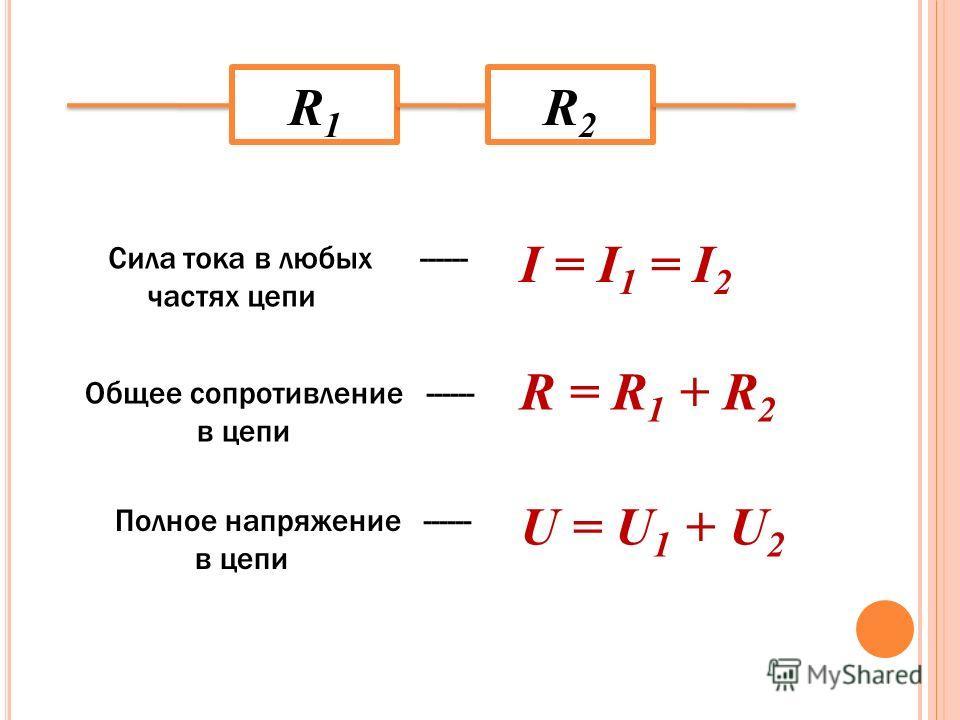 R1R1 R2R2 I = I 1 = I 2 Сила тока в любых ------ частях цепи Общее сопротивление ------ в цепи R = R 1 + R 2 Полное напряжение ------ в цепи U = U 1 + U 2