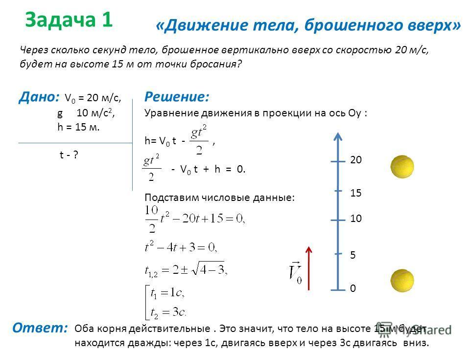 Задача 1 «Движение тела, брошенного вверх» Через сколько секунд тело, брошенное вертикально вверх со скоростью 20 м/с, будет на высоте 15 м от точки бросания? Дано: V 0 = 20 м/с, g 10 м/с 2, h = 15 м. t - ? Решение: Уравнение движения в проекции на о