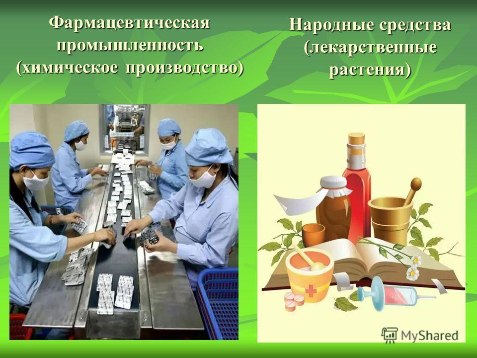 Фармацевтическая промышленность (химическое производство) Народные средства (лекарственные растения)