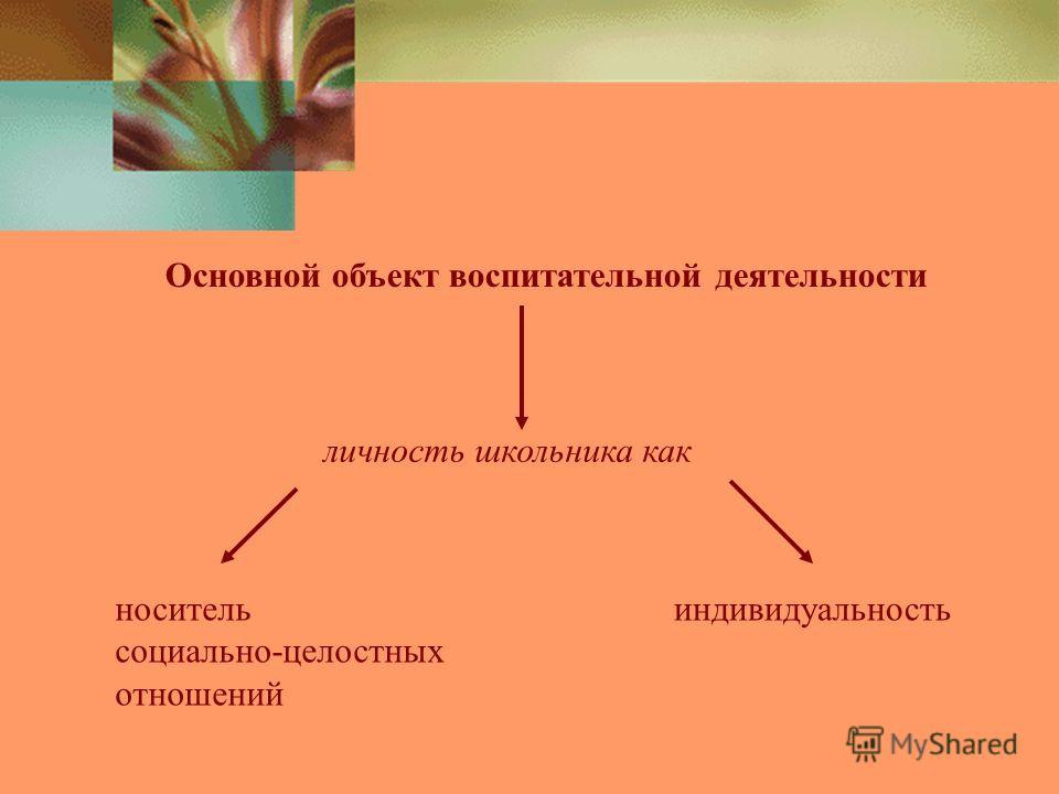 Основной объект воспитательной деятельности личность школьника как носитель социально-целостных отношений индивидуальность