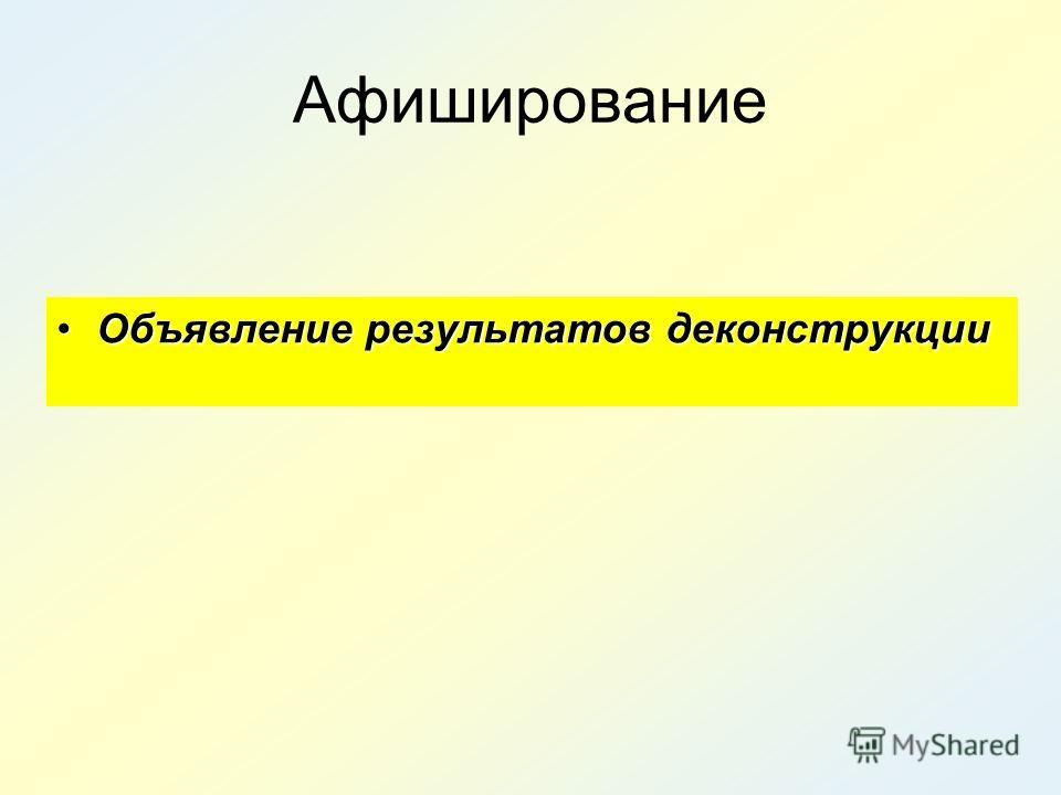 Афиширование Объявление результатов деконструкцииОбъявление результатов деконструкции