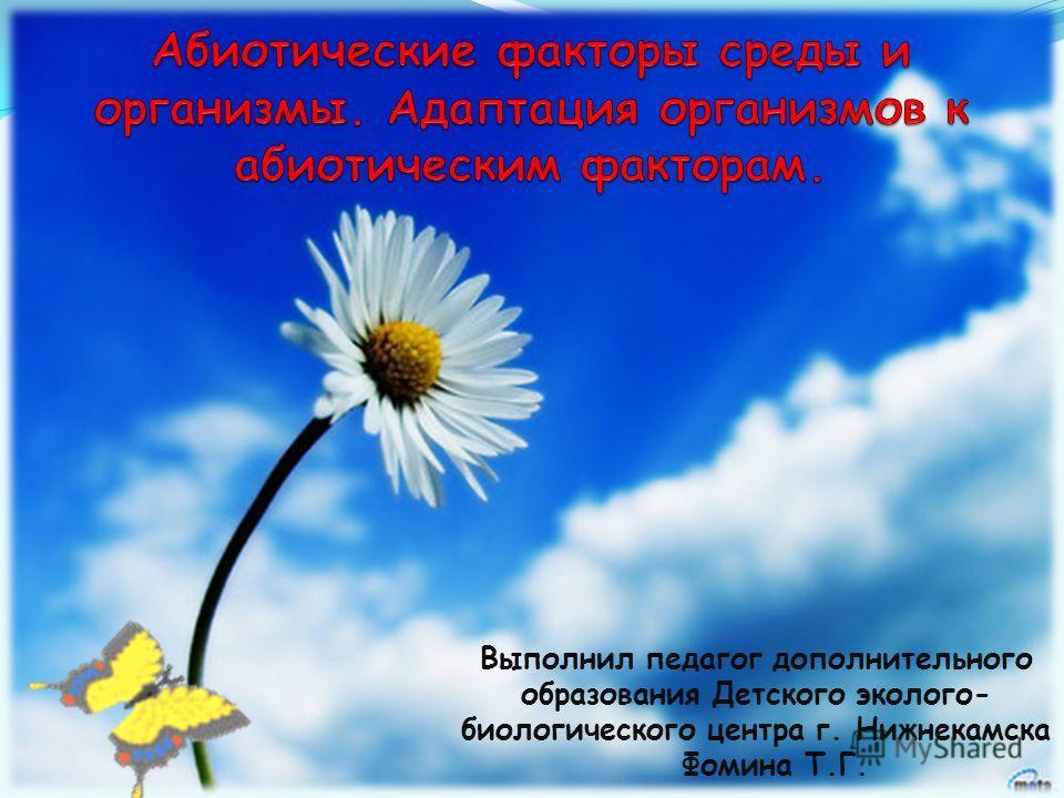Выполнил педагог дополнительного образования Детского эколого- биологического центра г. Нижнекамска Фомина Т.Г.
