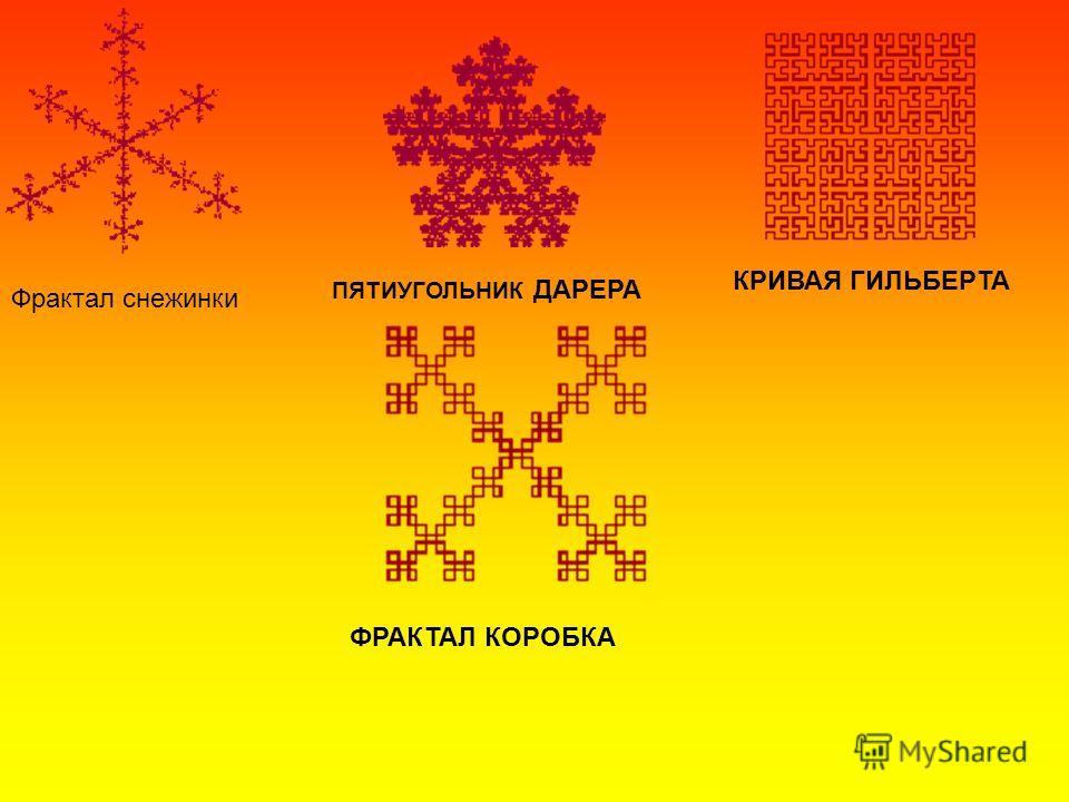 Фрактал снежинки ПЯТИУГОЛЬНИК ДАРЕРА КРИВАЯ ГИЛЬБЕРТА ФРАКТАЛ КОРОБКА
