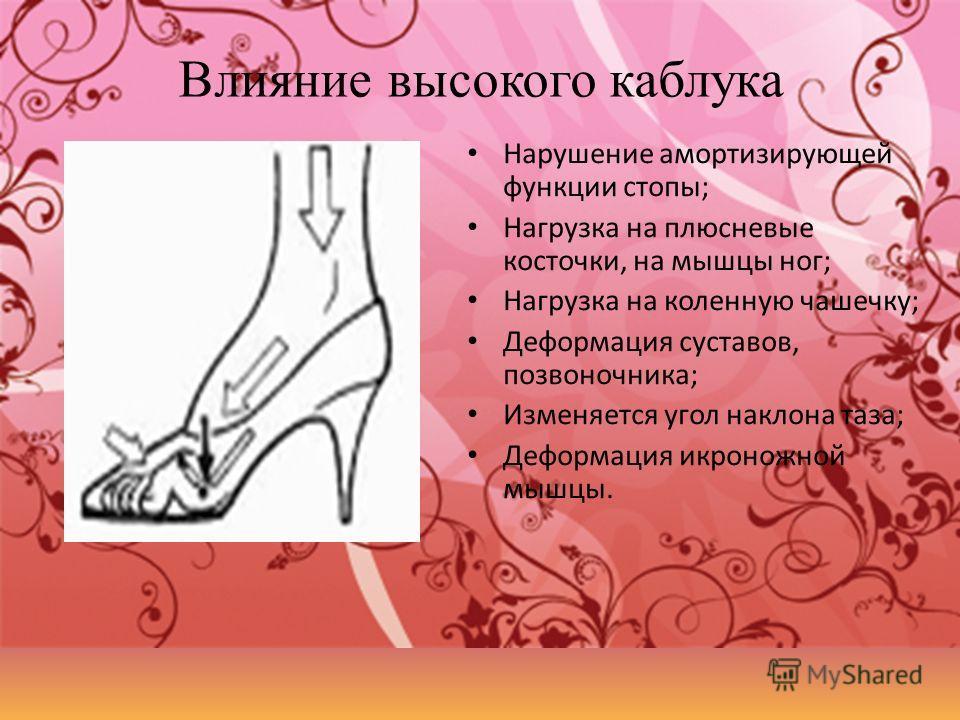 Влияние высокого каблука Нарушение амортизирующей функции стопы; Нагрузка на плюсневые косточки, на мышцы ног; Нагрузка на коленную чашечку; Деформация суставов, позвоночника; Изменяется угол наклона таза; Деформация икроножной мышцы.