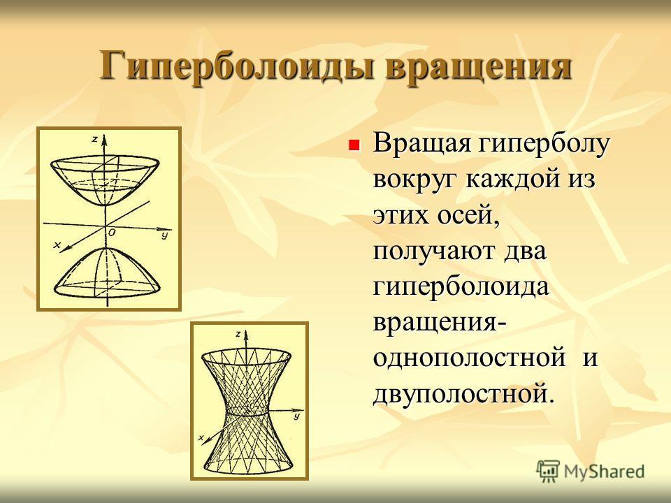Гиперболоиды вращения Вращая гиперболу вокруг каждой из этих осей, получают два гиперболоида вращения- однополостной и двуполостной. Вращая гиперболу вокруг каждой из этих осей, получают два гиперболоида вращения- однополостной и двуполостной.