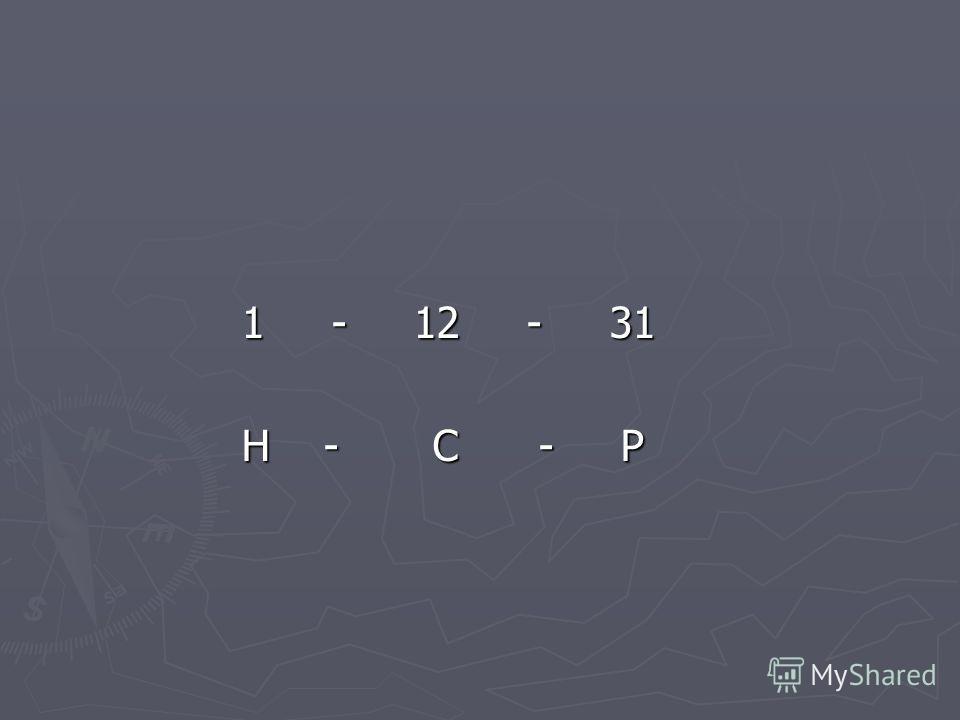 1 - 12 - 31 1 - 12 - 31 Н - С - Р Н - С - Р