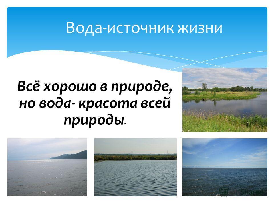 Вода-источник жизни Всё хорошо в природе, но вода- красота всей природы.