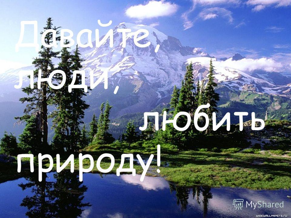 Давайте, люди, любить природу!