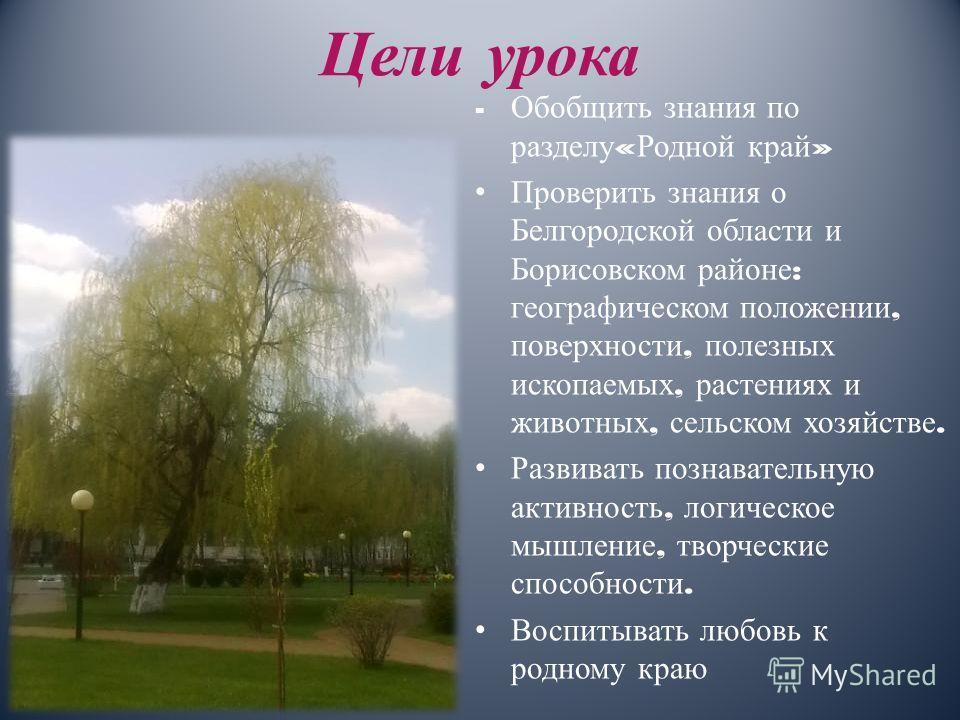 Цели урока - Обобщить знания по разделу « Родной край » Проверить знания о Белгородской области и Борисовском районе : географическом положении, поверхности, полезных ископаемых, растениях и животных, сельском хозяйстве. Развивать познавательную акти