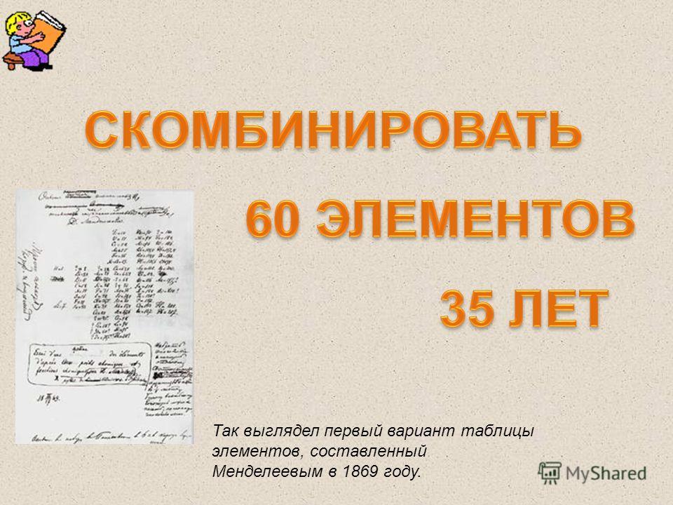 Так выглядел первый вариант таблицы элементов, составленный Менделеевым в 1869 году.