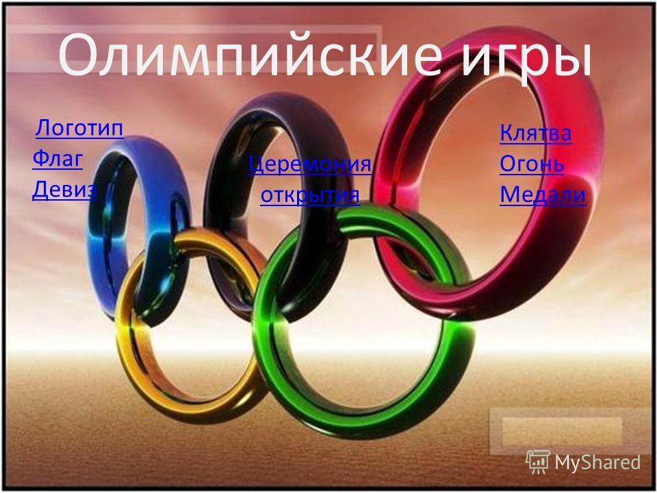 Олимпийские игры Логотип Флаг Девиз Клятва Огонь Медали Церемония открытия