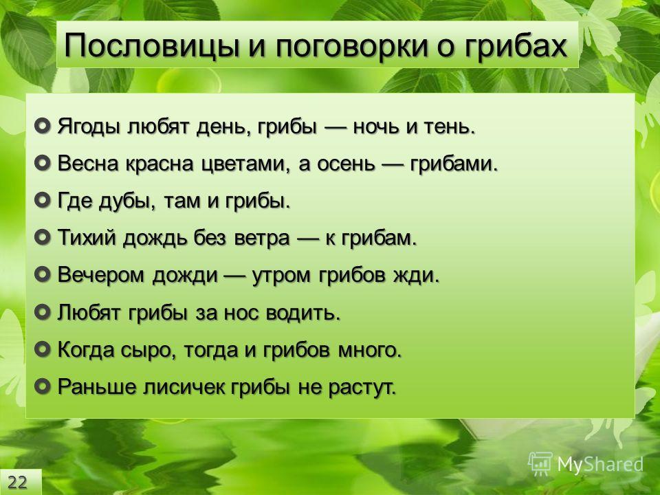 Ягоды любят день, грибы ночь и тень. Ягоды любят день, грибы ночь и тень. Весна красна цветами, а осень грибами. Весна красна цветами, а осень грибами. Где дубы, там и грибы. Где дубы, там и грибы. Тихий дождь без ветра к грибам. Тихий дождь без ветр