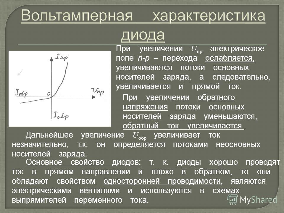 При увеличении U np электрическое поле n-p – перехода ослабляется, увеличиваются потоки основных носителей заряда, а следовательно, увеличивается и прямой ток. Дальнейшее увеличение U обр увеличивает ток незначительно, т.к. он определяется потоками н