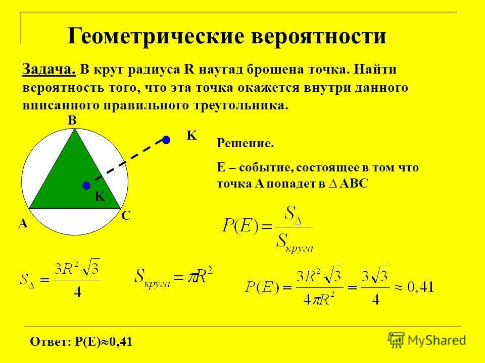 Геометрические вероятности Задача. В круг радиуса R наугад брошена точка. Найти вероятность того, что эта точка окажется внутри данного вписанного правильного треугольника. A B C K K Решение. E – событие, состоящее в том что точка A попадет в ABC Отв