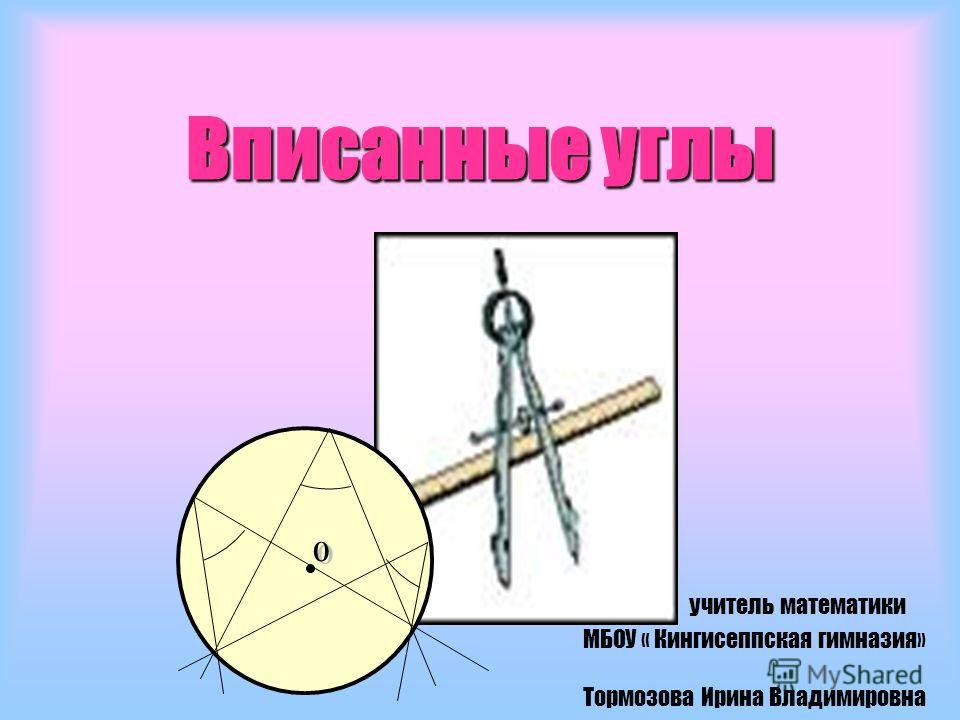 Вписанные углы учитель математики МБОУ « Кингисеппская гимназия» Тормозова Ирина Владимировна