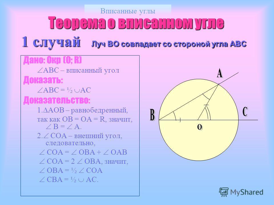 Вписанные углы Теорема о вписанном угле 1 случай Луч ВО совпадает со стороной угла АВС Теорема о вписанном угле 1 случай Луч ВО совпадает со стороной угла АВС Дано: Окр (О; R) АВС – вписанный угол Доказать: АВС = ½ АС Доказательство: 1. АОВ – равнобе