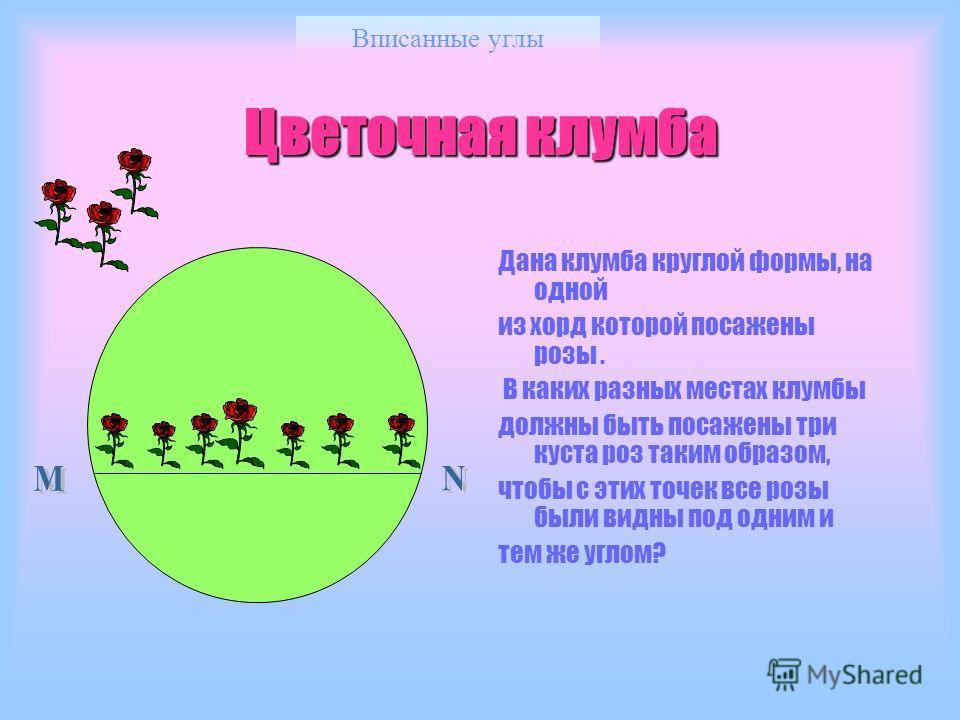 Вписанные углы Цветочная клумба Дана клумба круглой формы, на одной из хорд которой посажены розы. В каких разных местах клумбы должны быть посажены три куста роз таким образом, чтобы с этих точек все розы были видны под одним и тем же углом?