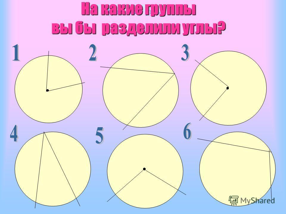 Вписанные углы На какие группы вы бы разделили углы?