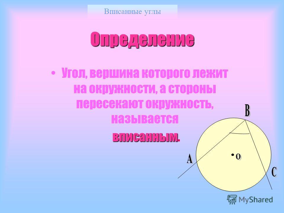 Вписанные углы Определение Угол, вершина которого лежит на окружности, а стороны пересекают окружность, называется вписанным вписанным.