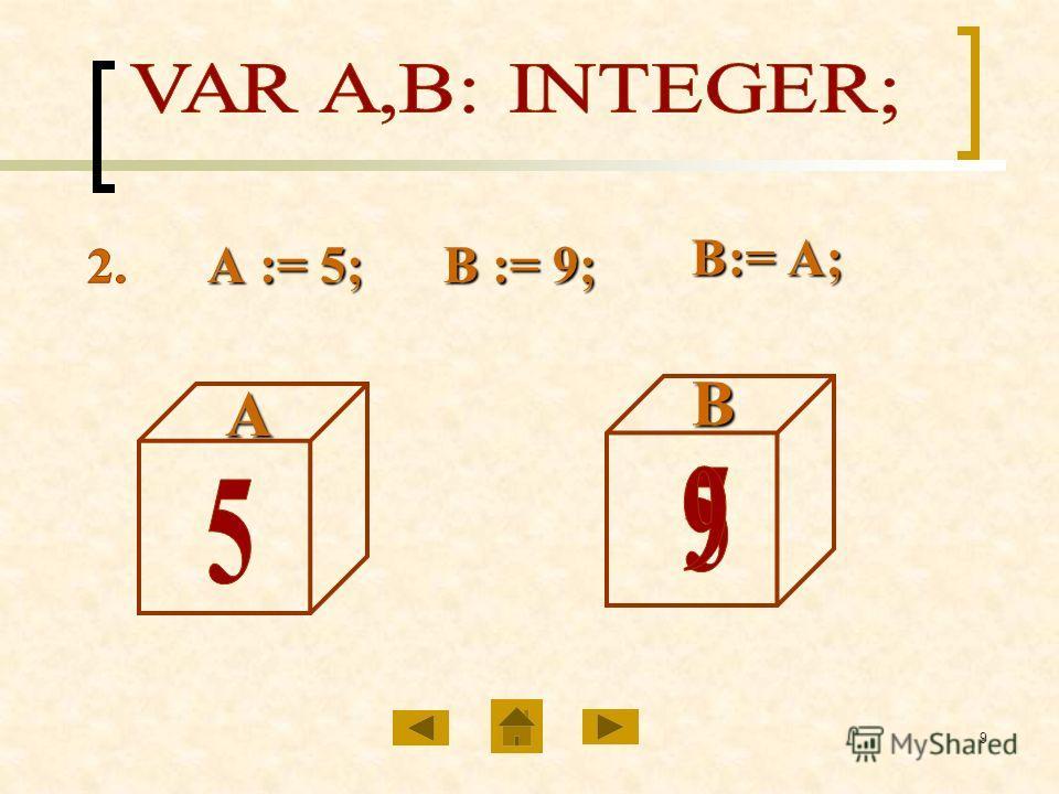 9АВ В:= А; В:= А; А := 5; В := 9;