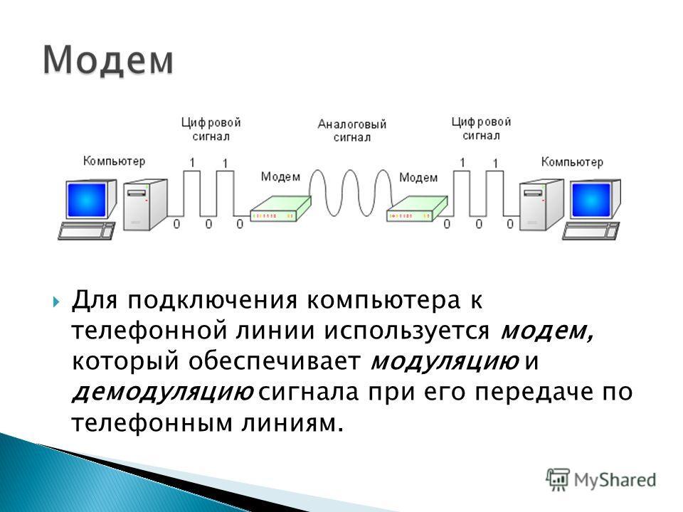 Для подключения компьютера к телефонной линии используется модем, который обеспечивает модуляцию и демодуляцию сигнала при его передаче по телефонным линиям.