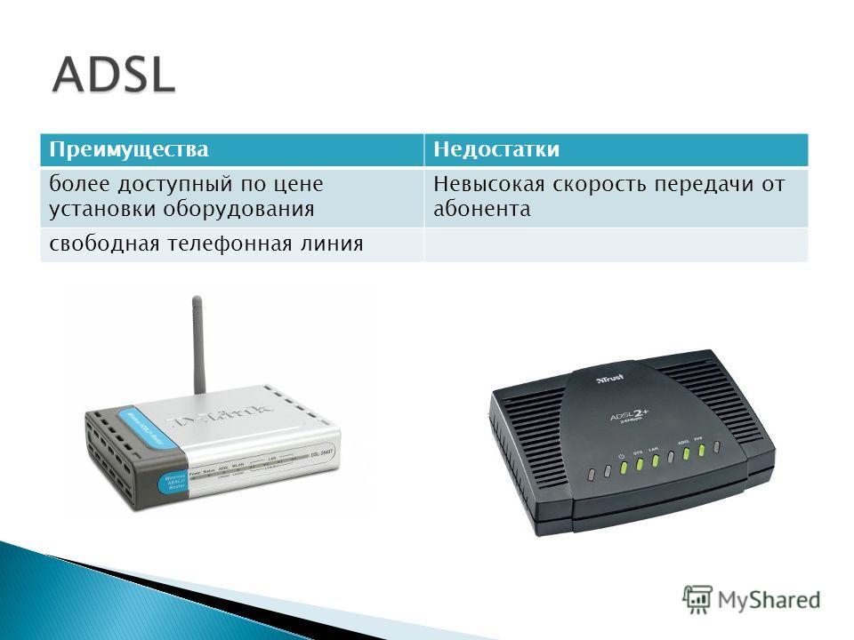 ПреимуществаНедостатки более доступный по цене установки оборудования Невысокая скорость передачи от абонента свободная телефонная линия