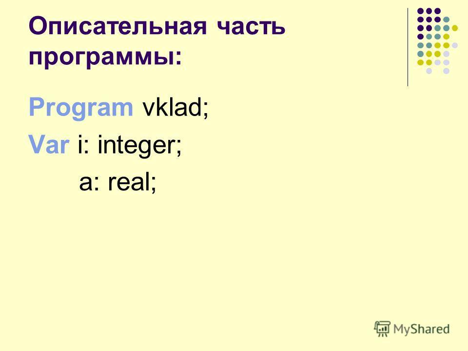 Описательная часть программы: Program vklad; Var i: integer; a: real;