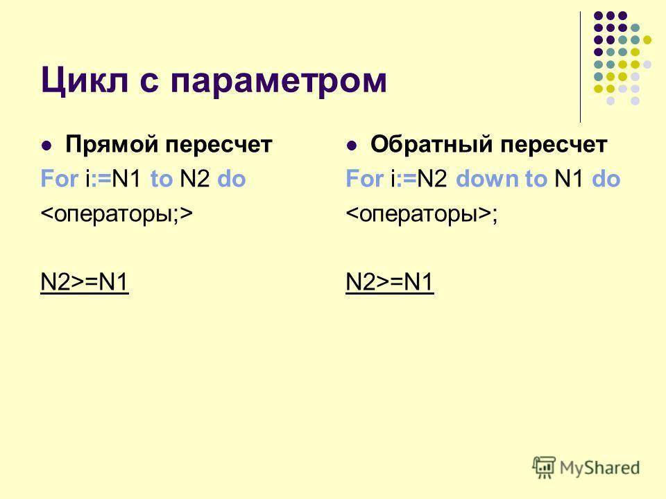 Цикл с параметром Прямой пересчет For i:=N1 to N2 do N2>=N1 Обратный пересчет For i:=N2 down to N1 do ; N2>=N1