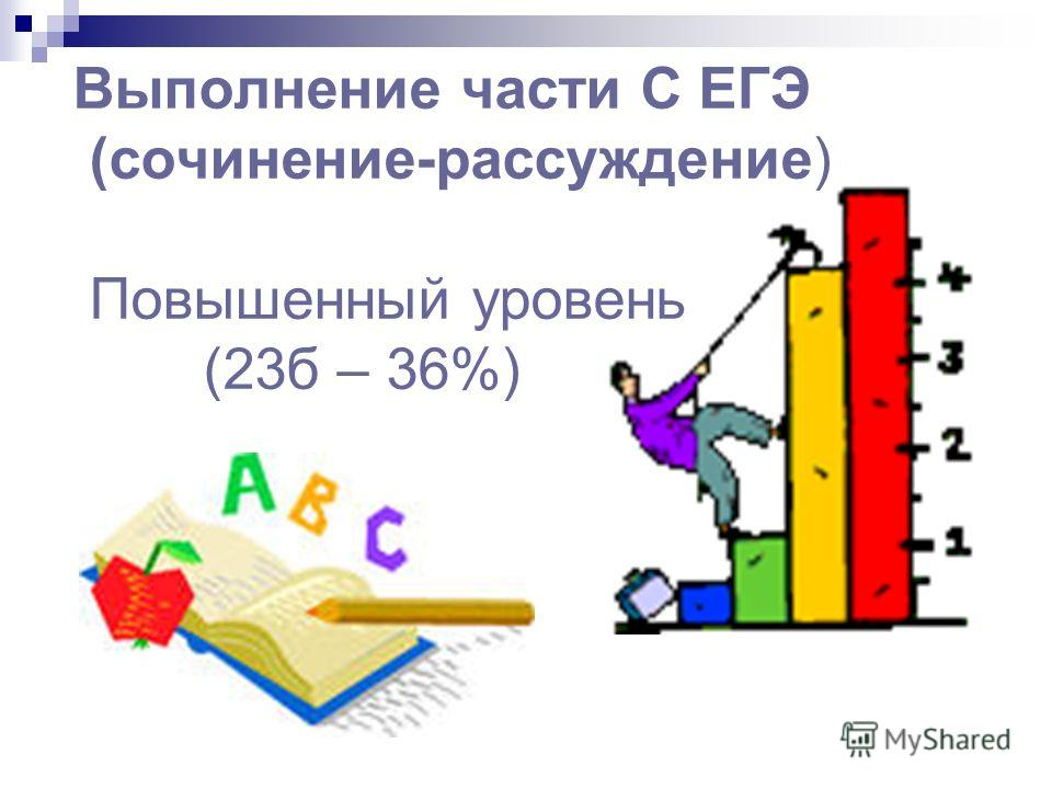 Выполнение части С ЕГЭ (сочинение-рассуждение) Повышенный уровень (23б – 36%)