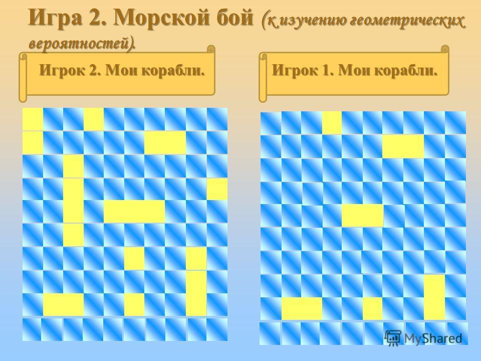 Игрок 2. Мои корабли. Игрок 1. Мои корабли. Игра 2. Морской бой ( к изучению геометрических вероятностей).