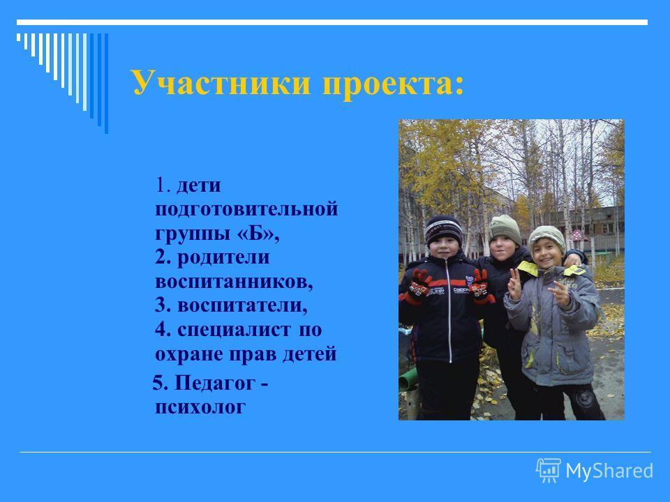 Участники проекта: 1. дети подготовительной группы «Б», 2. родители воспитанников, 3. воспитатели, 4. специалист по охране прав детей 5. Педагог - психолог