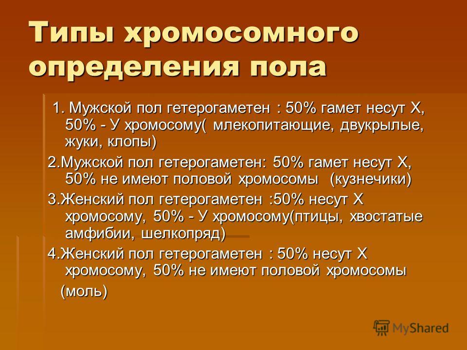 Типы хромосомного определения пола 1. Мужской пол гетерогаметен : 50% гамет несут Х, 50% - У хромосому( млекопитающие, двукрылые, жуки, клопы) 1. Мужской пол гетерогаметен : 50% гамет несут Х, 50% - У хромосому( млекопитающие, двукрылые, жуки, клопы)