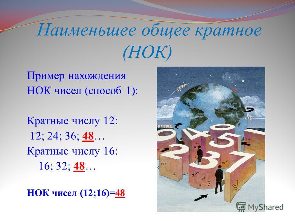 Наименьшее общее кратное (НОК) Пример нахождения НОК чисел (способ 1): Кратные числу 12: 12; 24; 36; 48… Кратные числу 16: 16; 32; 48… НОК чисел (12;16)=48