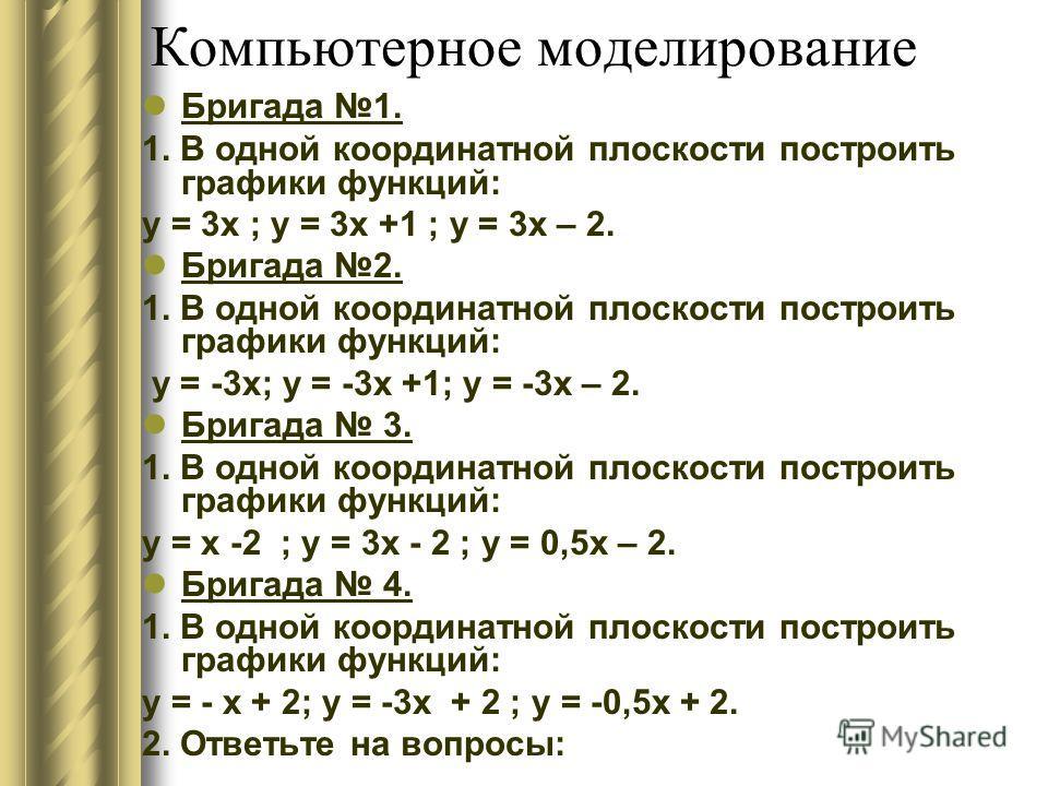 Компьютерное моделирование Бригада 1. 1. В одной координатной плоскости построить графики функций: у = 3х ; у = 3х +1 ; у = 3х – 2. Бригада 2. 1. В одной координатной плоскости построить графики функций: у = -3х; у = -3х +1; у = -3х – 2. Бригада 3. 1