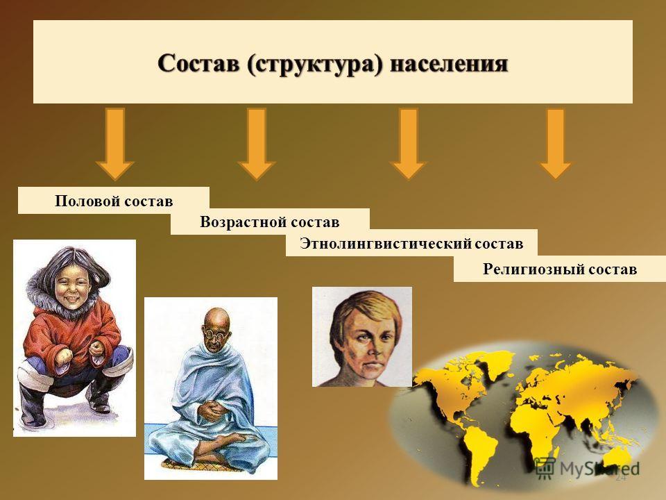24 Половой состав Возрастной состав Этнолингвистический состав Религиозный состав
