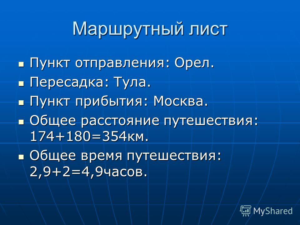Маршрутный лист Пункт отправления: Орел. Пункт отправления: Орел. Пересадка: Тула. Пересадка: Тула. Пункт прибытия: Москва. Пункт прибытия: Москва. Общее расстояние путешествия: 174+180=354км. Общее расстояние путешествия: 174+180=354км. Общее время